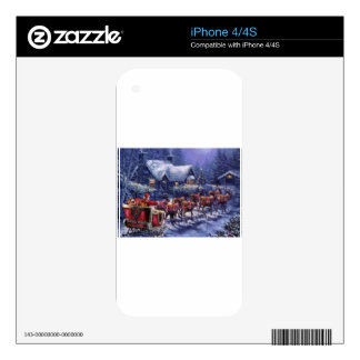 Santa Takes Off In His Sleigh Christmas Eve iPhone 4 Skins