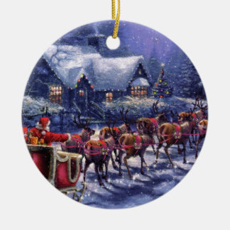 Santa Takes Off In His Sleigh Christmas Eve Christmas Tree Ornaments