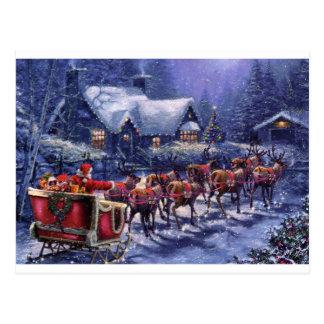 Santa Takes Off In His Sleigh Christmas Eve Postcard