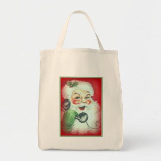 Santa Talking on Telephone Canvas Christmas Tote Grocery Tote Bag