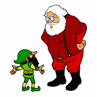 santa talking to elf cutout