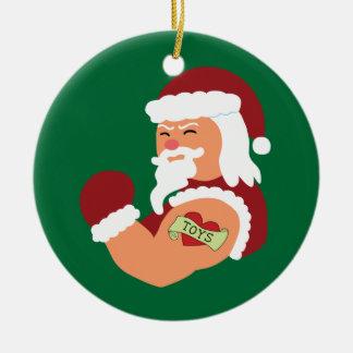 Santa tatuado adorno navideño redondo de cerámica