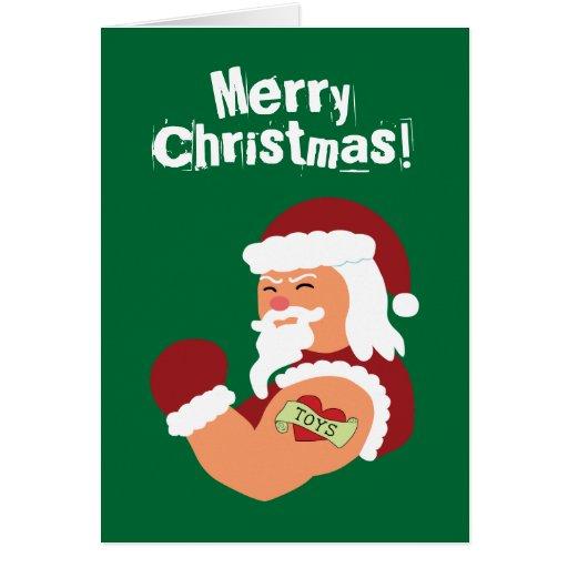 Santa tatuado tarjeta de felicitación