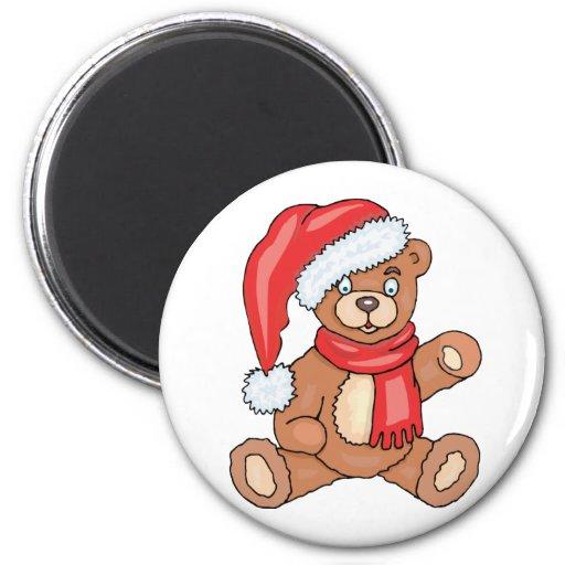 Santa Teddy Bear 2 Inch Round Magnet