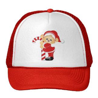 Santa Teddy Bear and Candycane Trucker Hat