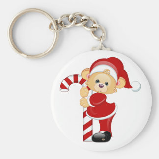 Santa Teddy Bear and Candycane Keychain