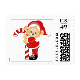 Santa Teddy Bear and Candycane Stamps
