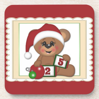 Santa Teddy Bear Beverage Coaster