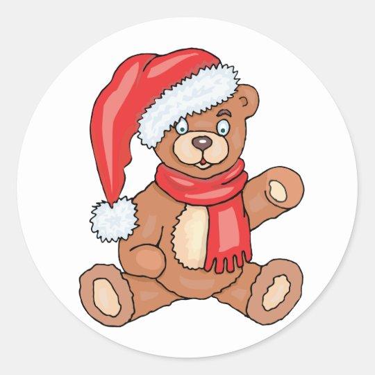 Santa Teddy Bear Classic Round Sticker