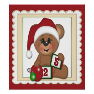 Santa Teddy Bear Poster