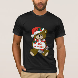 Santa Teddy Bear with Hat and Muff T-Shirt