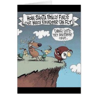 Santa Tests Reindeer Flying Greeting Card