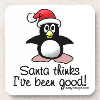 Santa Thinks I've Been Good! Christmas Penguin Coaster