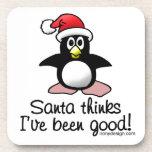 Santa Thinks I've Been Good! Christmas Penguin Coasters