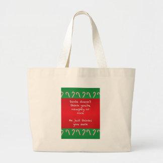 Santa Thinks You Suck Funny Christmas Large Tote Bag