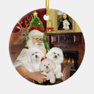 Santa - Three Bichon Frise Ceramic Ornament