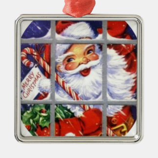 Santa Through the Window Panes Metal Ornament