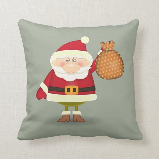 Santa Throw Pillow - Personalize the Back