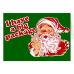 Santa tiene un paquete grande tarjeta de felicitación