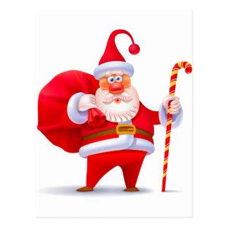 Santa tonto con el bastón de caramelo postales