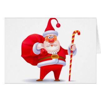 Santa tonto con el bastón de caramelo tarjeta de felicitación