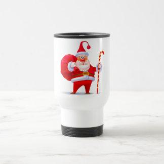 Santa tonto con el bastón de caramelo taza