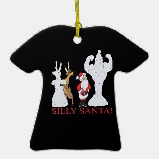 Santa tonto adorno de cerámica en forma de camiseta