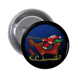Santa tonto en su trineo pin redondo 5 cm