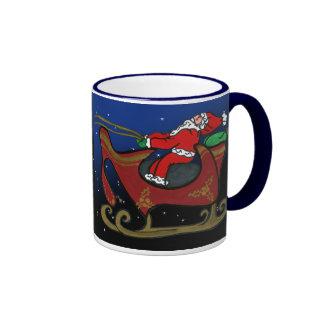 Santa tonto en su trineo taza