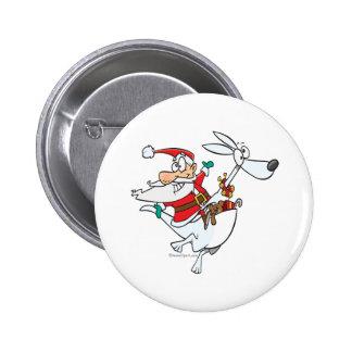 santa tonto en un dibujo animado divertido del can pin redondo 5 cm