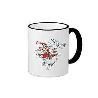 santa tonto en un dibujo animado divertido del can tazas de café
