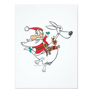 santa tonto en un dibujo animado divertido del invitación 16,5 x 22,2 cm
