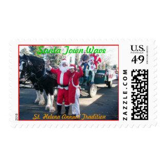 Santa Town Wave Postage Stamp