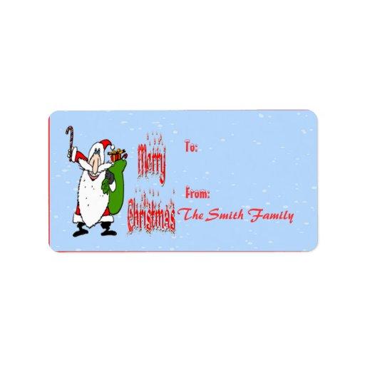 Santa & Toy Bag Gift Tag Custom Address Label
