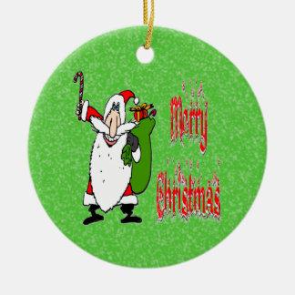 Santa & Toy Bag Round Ornament