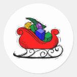 Santa Toy Sleigh Round Sticker