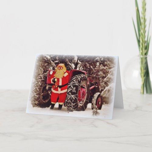 Santa Tractor Sleigh Christmas Greeting Card