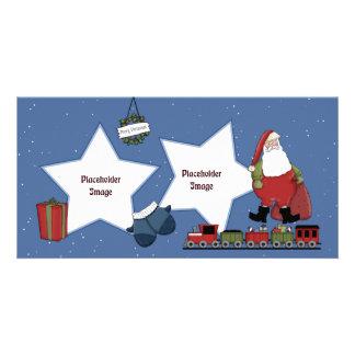Santa, train, gift and Christmas wreath Card