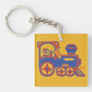 Santa Train Single-Sided Square Acrylic Keychain