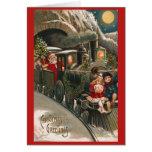 Santa Train Vintage Christmas Card