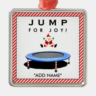 Santa trampolining adorno navideño cuadrado de metal