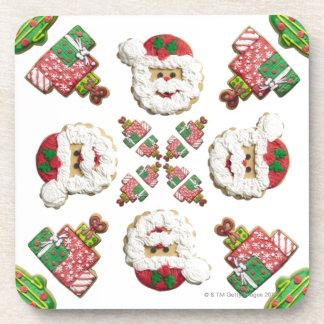 Santa, Tree and Gift Snowflake Cookie Drink Coasters