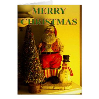 santa, tree and snowman christmas card