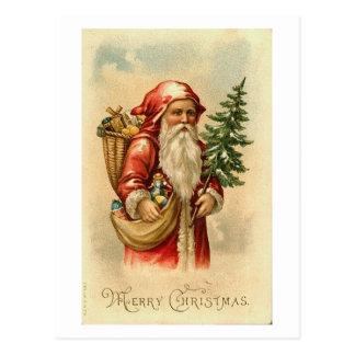 Santa Tree and Toys Merry Christmas Card Postcards
