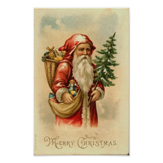 Santa, Tree and Toys Merry Christmas Card Poster