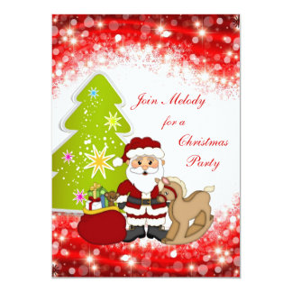 Santa tree kids Christmas Party Invitation
