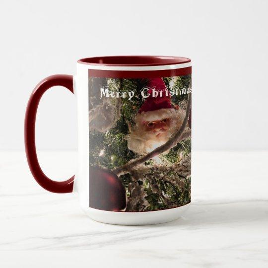 Santa Tree Ornaments, Red Christmas Balls, Lights Mug