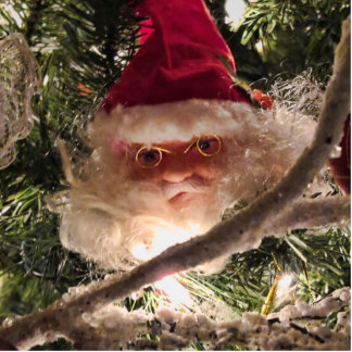 Santa Tree Ornaments Red Christmas Balls Lights Photo Cutout