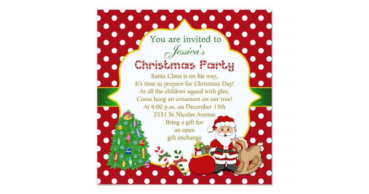 Santa, tree, rocking horse kids Christmas Party Card   Zazzle.com
