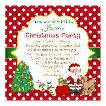 Santa, tree, rocking horse kids Christmas Party Invitation